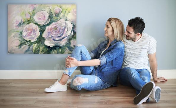 Obraz róże ręcznie malowane do salonu