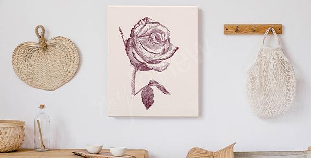 Obraz róże rysunkowe