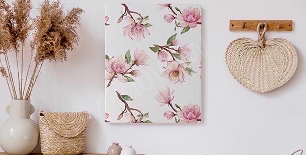 Obraz magnolia czarno-biała
