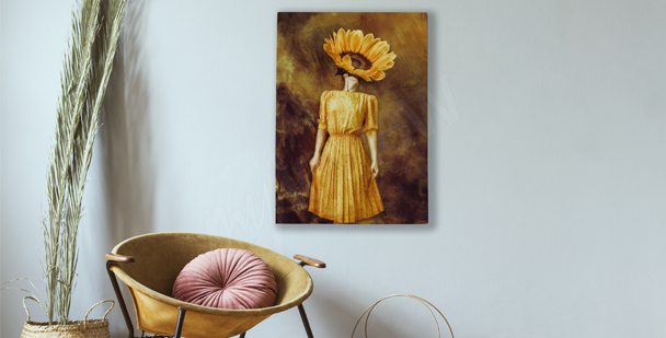 Obraz słonecznik z wizerunkiem kobiety