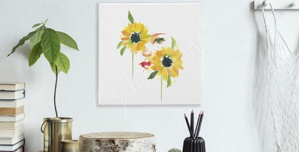 Obraz słoneczniki i kobieta