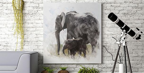 Obraz słonia z młodym