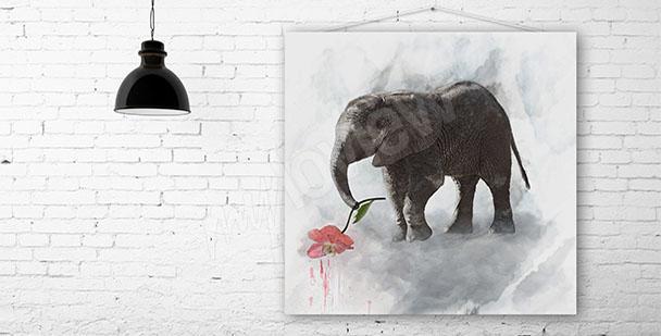 Obraz słonik z kwiatem