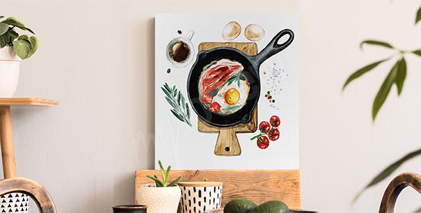 Obraz śniadanie na patelni