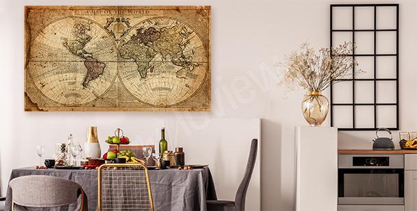 Obraz stara mapa świata