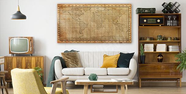 Obraz stara mapa w sepii