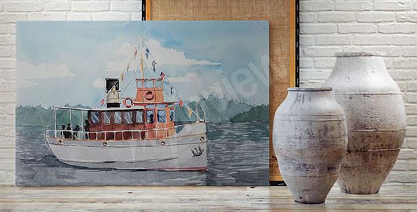 Obraz statek na jeziorze