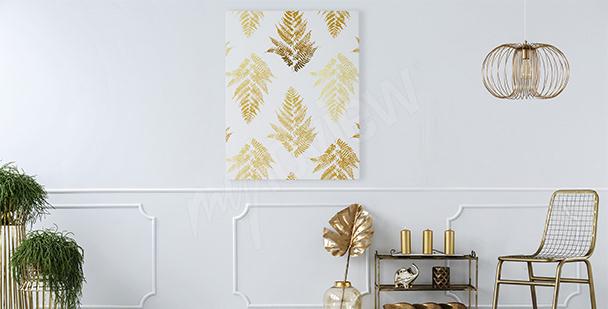 Obraz styl glamour: złote liście