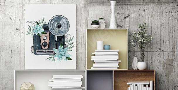 Obraz styl retro: aparat i kwiaty