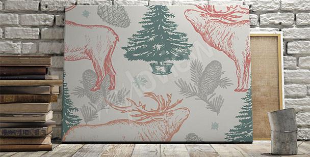 Obraz styl scandi leśny motyw