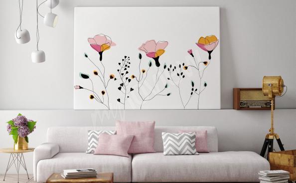 Obraz styl skandynawski szkic kwiatów