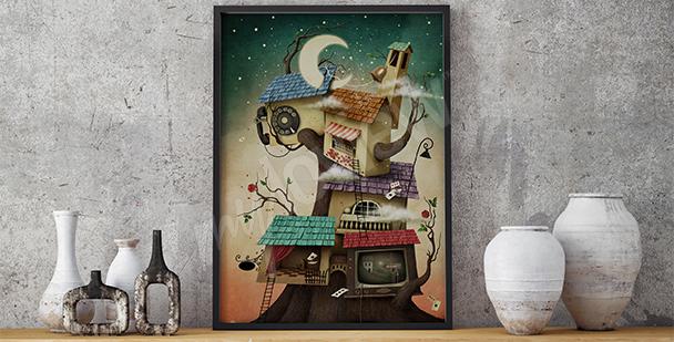 Obraz surrealistyczne domki