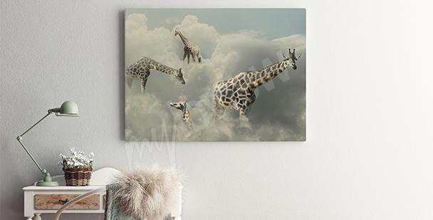 Obraz surrealizm żyrafy w chmurach