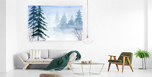 Obraz świerki w śniegu