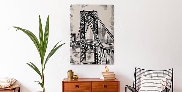 Obraz szkic z mostem