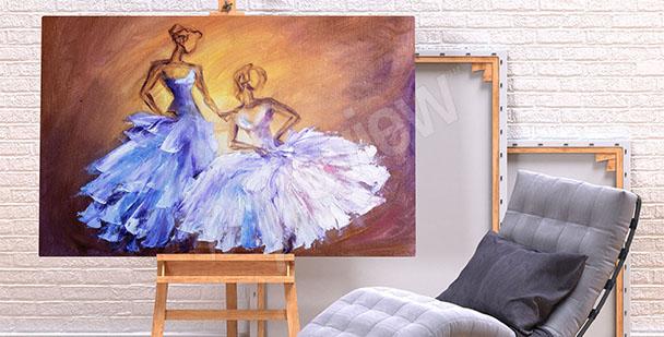 Obraz taniec w sukniach balowych
