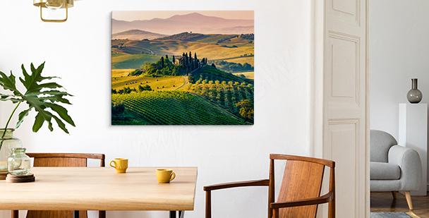 Obraz Toskania o zachodzie słońca