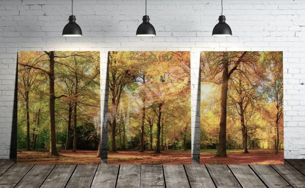 Obraz tryptyk z leśnym krajobrazem