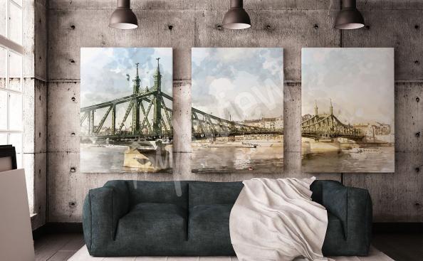 Obraz tryptyk z mostem