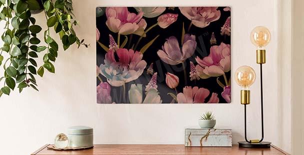 Obraz tulipany na ciemnym tle