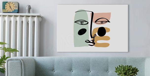 Obraz twarz w stylu line art