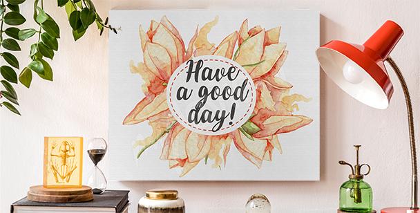 Obraz typografia i kwiaty
