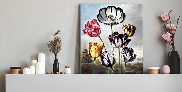 Obraz vintage z tulipanami
