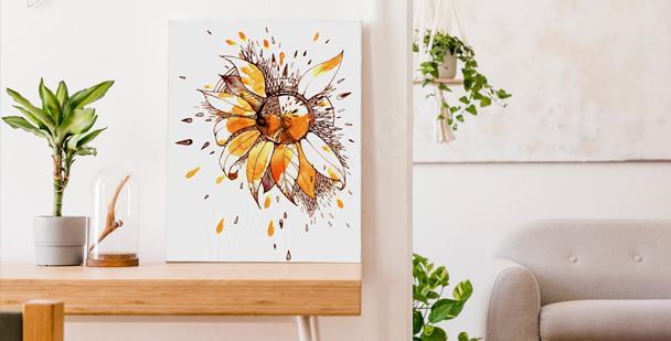 Obraz słonecznik czarno-biały