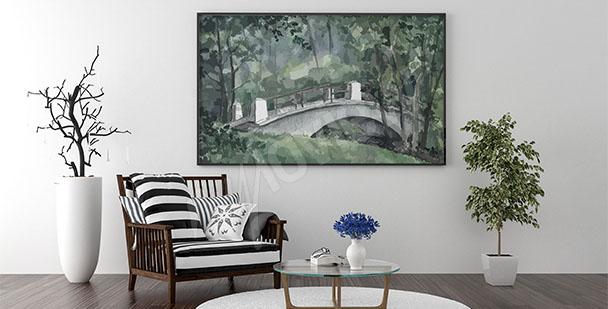Obraz w salonie most