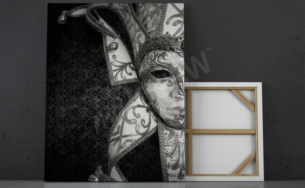 Obraz wenecka maska czarno-biała