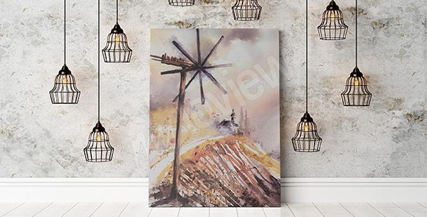 Obraz wiatrak malowany akwarelą