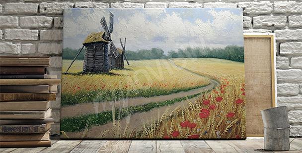 Obraz wiatrak w zbożu