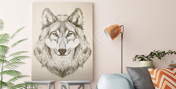 Obraz wilk w czerni i bieli