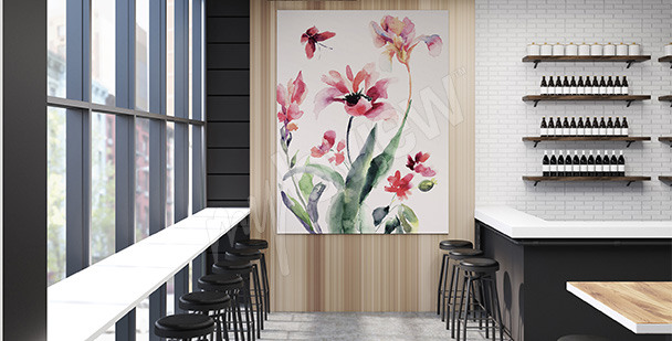 Obraz wiosenne kwiaty - akwarela