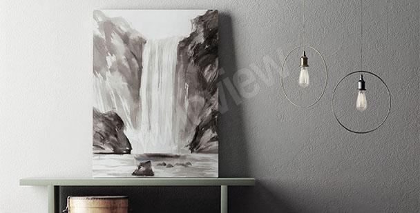 Obraz wodospad czarno-biały