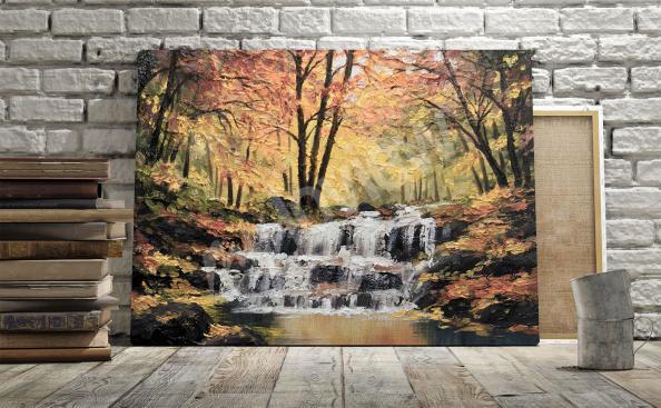 Obraz wodospad krajobraz jesienny