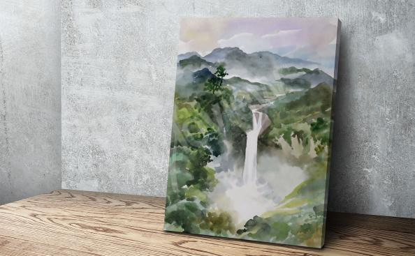 Obraz wodospad malarstwo akwarela