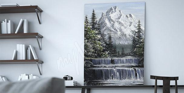 Obraz wodospad w górach