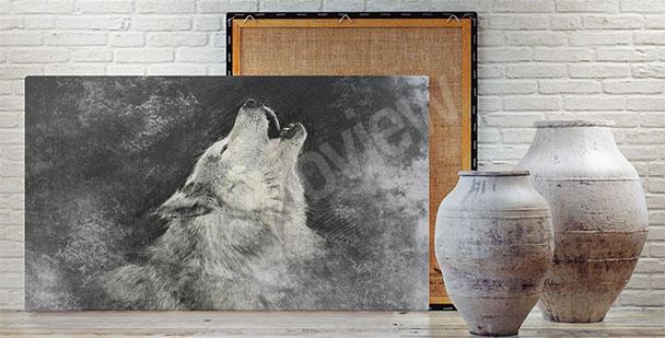 Obraz wyjący wilk