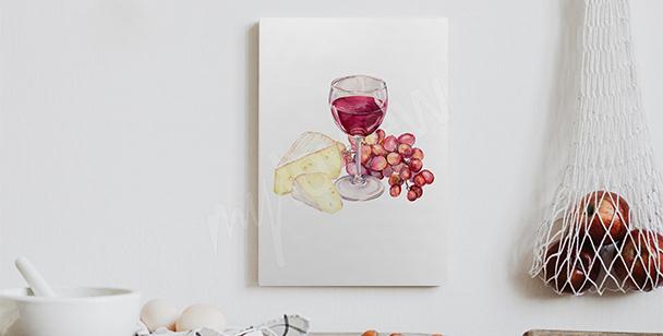 Obraz z czerwonym winem