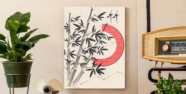 Obraz z drzewami bambusowymi