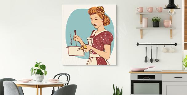 Obraz z kobietą do kuchni