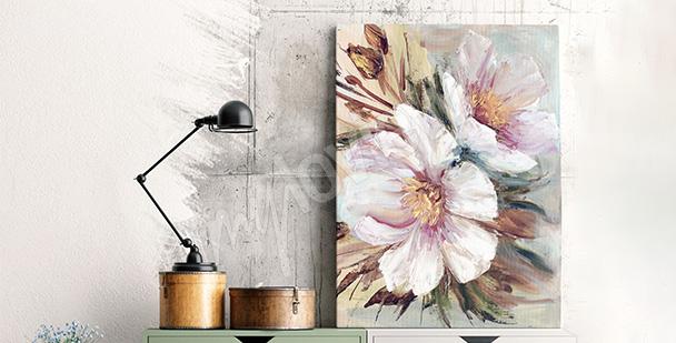 Obraz z kwiatami ręcznie malowanymi