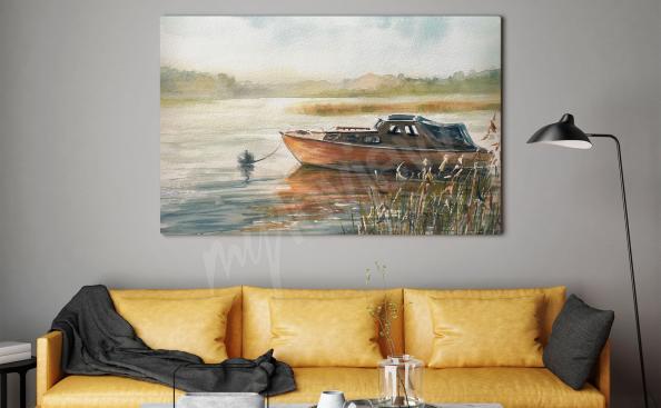 Obraz z łodzią w jesiennej aurze