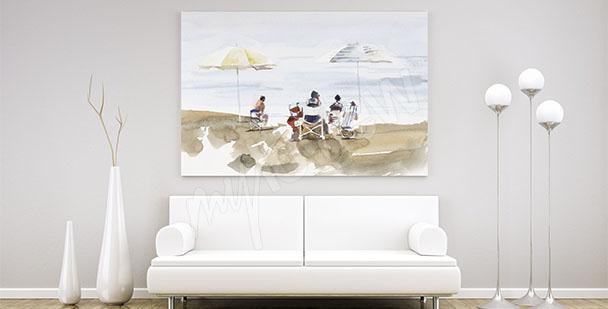 Obraz z ludźmi na plaży