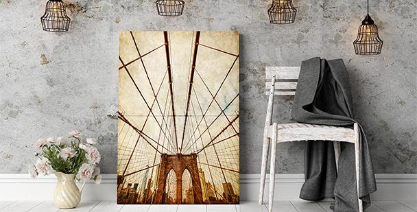 Obraz z Mostem Brooklińskim w sepii