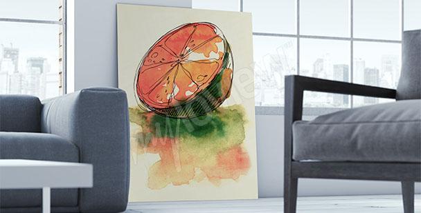 Obraz z owocem akwarela