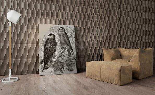Obraz z ptakami w czerni i bieli