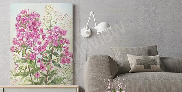 Obraz z różowymi kwiatami