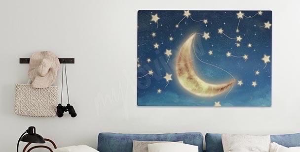 Obraz z rozświetlonym księżycem